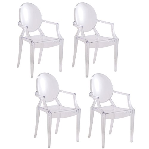 Designer Modern Clear Louis Ghost Armchairs Set of 4