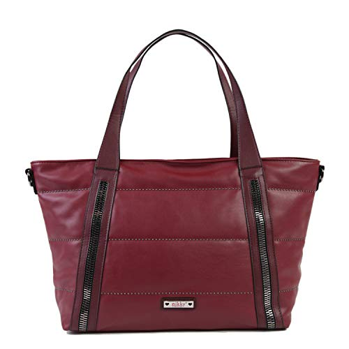 Nikky Top Handle Quilted Red Spacious Women's Tote Bag Travel Shoulder, Wine One Size