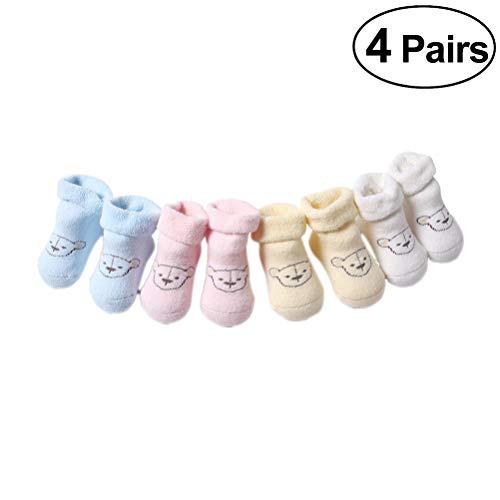 軽減トーンビュッフェFENICAL 子供の秋と冬の4つのペア綿の滑り止めソックス幼児のソックス子供のソックスベビーソックス0-6から12ヶ月に適して