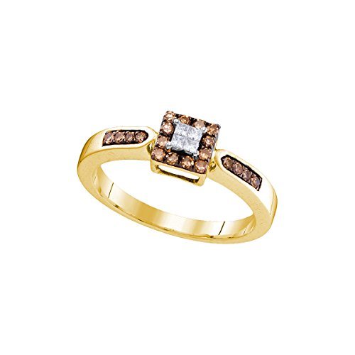 10kt Yellow Gold Womens Round Cognac-brown Colored Diamond Square Cluster Ring 1/4 Cttw by JAWAFASHION