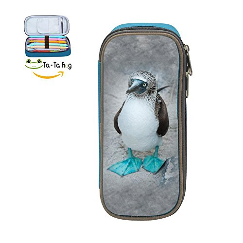 - Cute Large Capacity Cool Canvas Pencil Case Pen Bag Blue-footed Booby Standing On Student blue