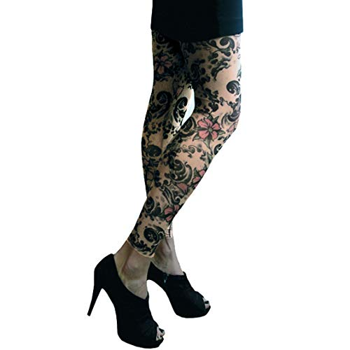 Tattoo Cherry (Wild Rose Ladies Cherry Blossom Tattoo Mesh Leggings, Tan, X-Large)