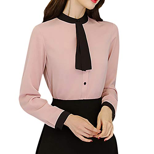 Pervobs Women Cute Casual Summer Long Sleeve Button Solid Chiffon Loose Fit Workout Office Shirts Top Blouse Blusa(L, Z01-Pink)