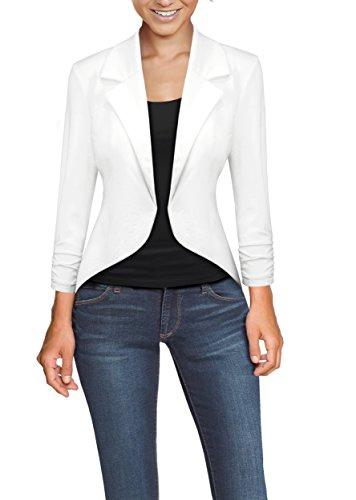 Womens Casual Work High Low Blazer Jacket JK45590X 1073T White -