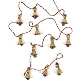 Rastogi Handicrafts Brass Decorative String of 11 Metal Vintage Indian Style Fair trade Wall Hanging Bells (1)