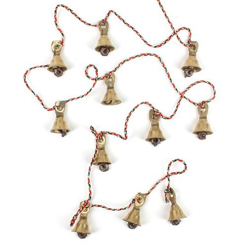 Rastogi Handicrafts Brass Decorative String of 11 Metal Vintage Indian Style Fair trade Wall Hanging Bells (1) Brass Hanging Bell