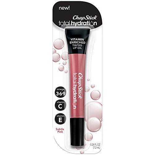 ChapStick Total Hydration Vitamin Enriched Tinted Lip Oil (Subtle Pink, 1 Tube), Vitamin C, Vitamin E, Contains Omega 3 6 9, 0.24 Ounce