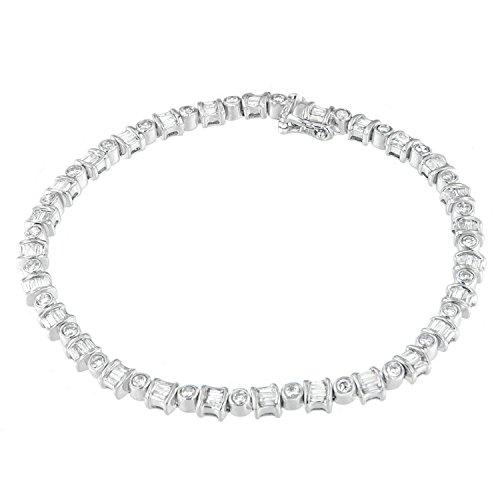 Baguette White Bracelet (Original Classics 14K White Gold Round and Baguette-Cut Diamond Bracelet (2.00 cttw, H-I Color, I1-I2 Clarity))