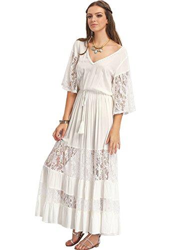 Milumia Women's Bohemian V Neck Lace Splicing Maxi Dress White L