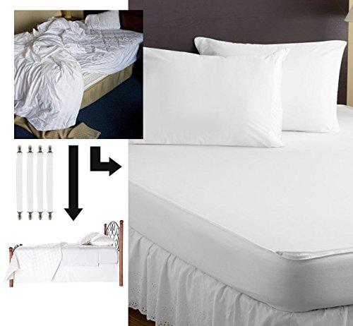 Agoer ajustable elástica color blanco tensores para sábana con pinzas de metal, cama Toalla Tensor sábana bajera (Soporte para manteles Techos colchones ...