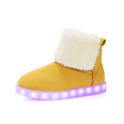 O&N Women's Girls Kids LED Light Up Fur Lined Shoes USB C...
