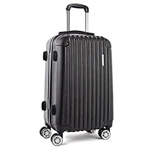 Wanderlite Luggage Suitcase Trolley Travel Carry On Bag Lightweight Hard Case with Two Colour(Black and Blue)