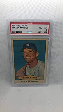 Amazoncom 1954 Red Heart Mickey Mantle Baseball Card Psa