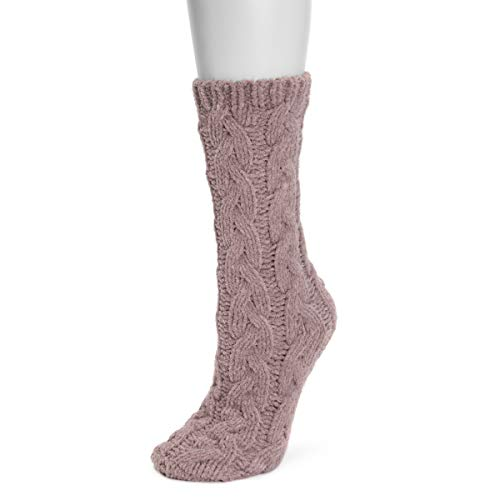 MUK LUKS womens Women's Mid Chunky Cable Chenille Socks