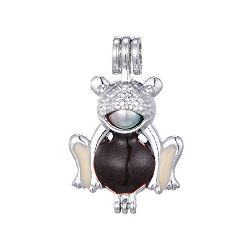 Frog Charm Enamel - 6pcs Christmas Jingle Bell Snowman Enamel Diamond Pearl Cage Jewelry Making Supplies Rhodium Plated Bead Cage Pendant/for Oyster Pearls, Essential Oil Diffuser, Fun Gifts (Frog)