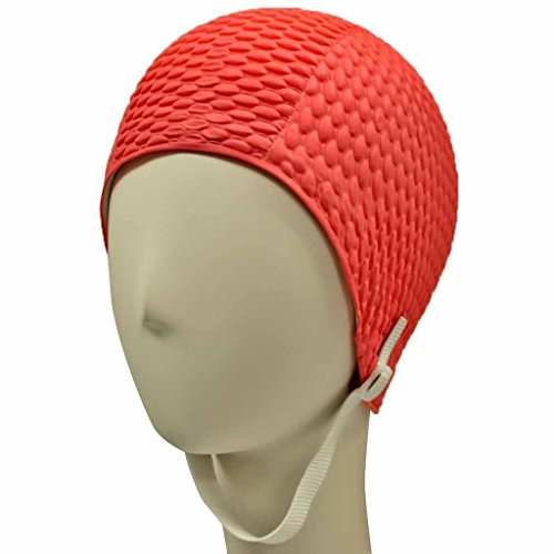 Latex Swim Cap - Women Stylish Swimming Cap Great for Ladies, Perfect to Keep Hair Dry - Suitable for Long Hair - Bubble Crepe with Chin Strap - Hot - Ironman Cap Swim