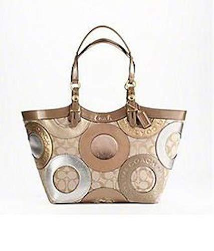 Coach Signature Pieced Patchwork Shopper Bag Tote 16180 Gold
