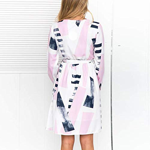 Forme Robe FeiXiang dcontracte Manches irrgulire Femmes Jupe Robe Mode Longues de Impression Sangle Rose Robe rwTZnXqTx8