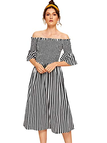 Verdusa Women's Off Shoulder Shirred Flounce Short Sleeve Striped Dress Multicolor M
