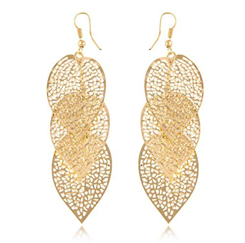FAUOI Copper Leaves Earrings Gold Plated Filigree Leaf Dangle Drop Earrings for Women Party Cistume