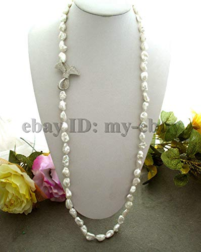 - FidgetFidget White Baroque Keshi Keishi FW Pearl Necklace Silver Crystal Bowknot Clasp 34