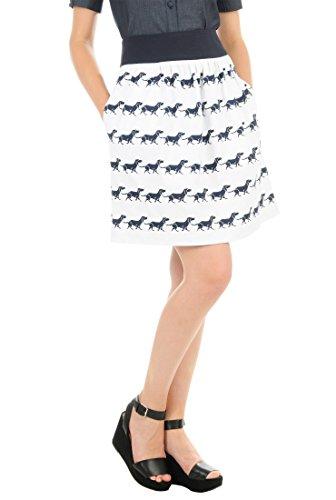 eShakti Women's Graphic hound dog print cotton knit skirt XL-18 Tall White/navy