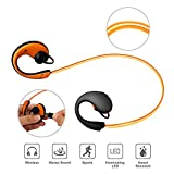 ZaZaTool Orange LED Illumination Sweatproof Bluetooth 4.1 Headphone Sport Headset 3D Stereo Wireless Earphone