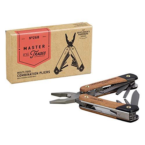 Gentlemen's Hardware 12-1 Plier Multi-Tool with Wood Handles & Titanium Coated Stainless Steel Tools
