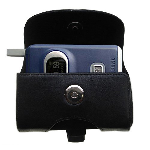 (Designer Gomadic Black Leather Samsung SGH-X400 X426 X427 X430 X450 Belt Carrying Case - Includes Optional Belt Loop and Removable Clip)