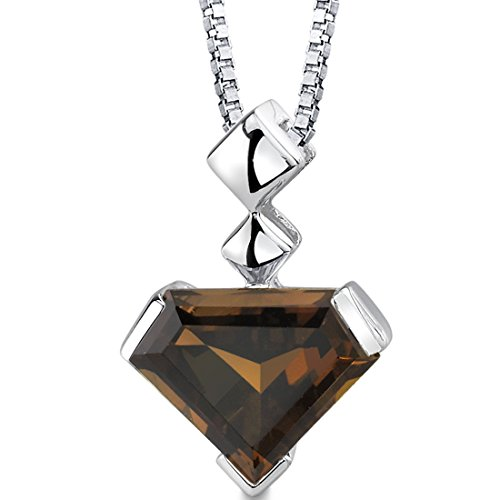 Superman Cut Smoky Quartz Sterling Silver Pendant Necklace 6.25 - Silver Quartz Necklace Smoky Sterling