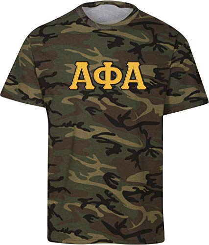 Fashion Greek Alpha Phi Alpha Embroidered Twill Camo T Shirt Camo Gold Extra Large (Greek Embroidered Sweatshirts)