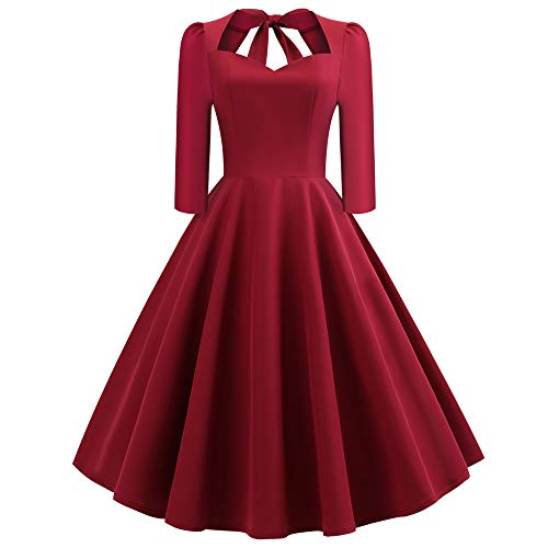 XOWRTE Women's Vintage Dress Solid V-Neck Back Hollow Out Bow Draped Holiday Dress ()