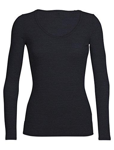Icebreaker Women's Siren Long Sleeve Sweetheart Underwear, Black, Large