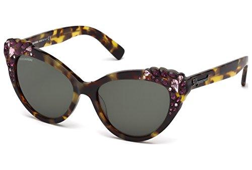 D Squared Lunettes de soleil 0168 Pour Femme Black / Clear (Faux Prescription Lenses) 55N: Coloured Tortoise