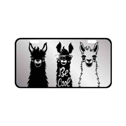 EnnE Personalized Metal License Plate Cover Cartoon Alpaca For Car 2 Holes Car Tag 11.8 Inch X 6.1 Inch