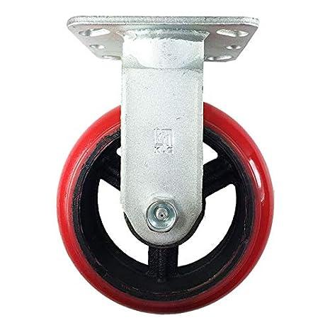 "6/"" Heavy Duty Cast Iron Hub Non Skid Mark Wheels 2 Swivel Brake /& 2 Rigid"