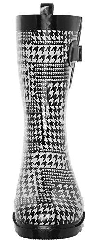 Capelli New York Ladies Umbrella Impreso Mid-calf Rain Bota White Combo