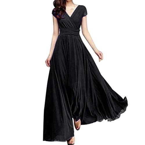 ❤️ Vestido largo de noche de gasa sólido con cuello en V de las mujeres de moda vestido largo ABsolute Negro