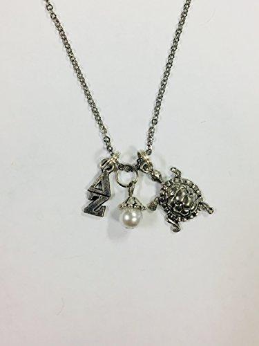 Delta Zeta Trio Charm Necklace Sorority Greek Necklace, 18 inch chain