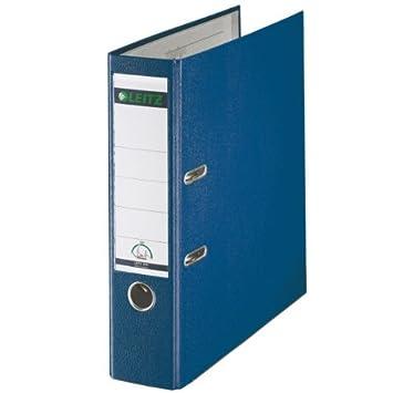 Leitz 1110-00-35 - Archivador de palanca (tamaño folio, lomo 80 mm, 10 unidades), color azul: Amazon.es: Oficina y papelería