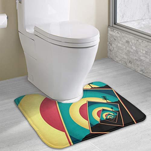 Seamless Art Print Spinning Disc Golf Basket U-Shaped Absorbs Moisture Non Slip Bathroom Rugs Toilet Carpet Floor Mat, 15.8