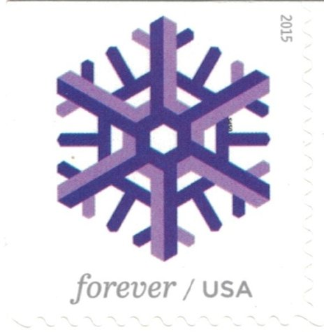 Geometric Snowflakes USPS Forever Stamps 100 Stamps (5 Books of 20) Photo #3