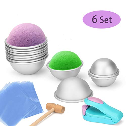 DIY Bath Bomb Mold Kits-Made of Thickened and Non Stick Materials.Handmade Mold Gifts Package Including Metal Molds 2.6in/2.2in/1.8in,Mini Heat Sealer,Shrink Wrap Bags and One Wooden Hammer. ()