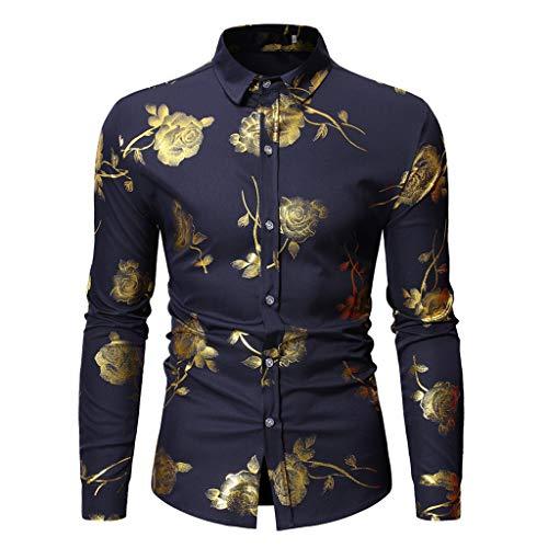 (Men's Floral Shirt, Men's Dress Shirt Long Sleeve 70s Printed Casual Button Down Shirts Navy)