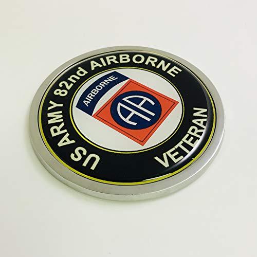 (BestLicensePlateFrames US Army 82nd Airborne Veteran 3D Domed CAR Emblem Badge Sticker Chrome Metal Round Bezel)