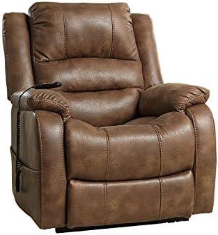 Amazon Com Signature Design By Ashley Yandel Upholstered Power Lift Recliner For Elderly Brown Furniture Decor