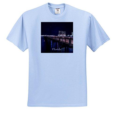 Florida - Image of Panama City Pier At Night - T-Shirts - Youth Light-Blue-T-Shirt Small(6-8) - City Pier Panama