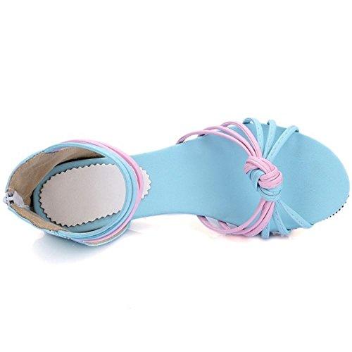 LongFengMa Azul Comfortable Sandalias Zipper Multicolor Flats Zapatos Ladies Srqw0S