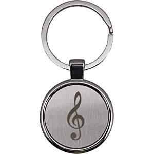 Round Satin & Chrome Keychain with Engraved Music G-Clef