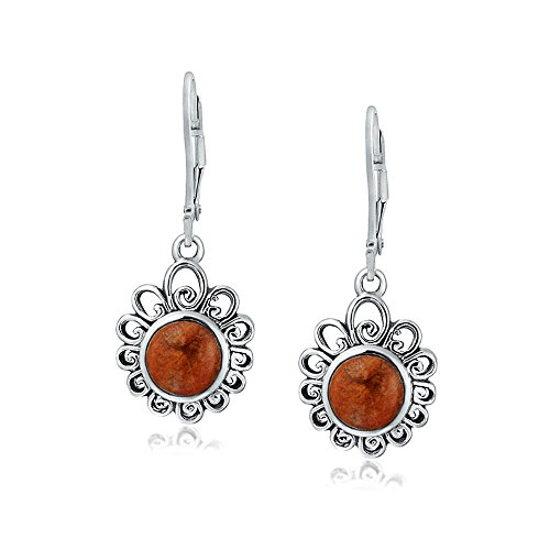 Bali Style Round Flower Natural Red Coral Leverback Earrings For Women 925 Sterling Silver ()